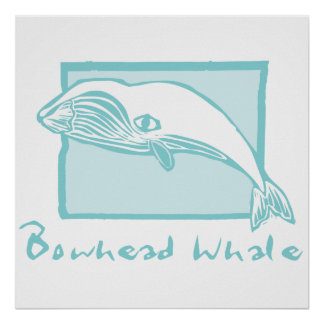 Woodcut Bowhead Whale Poster