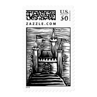 Woodcut Castle Postage