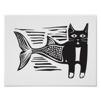 Woodcut Catfish Poster