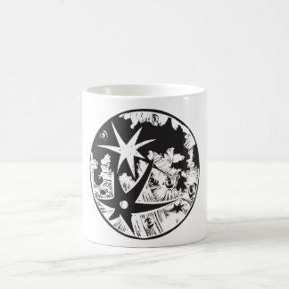 Woodcut Cratered Moon Coffee Mug