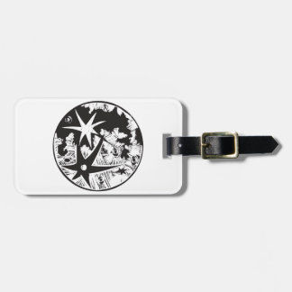 Woodcut Cratered Moon Tag For Luggage