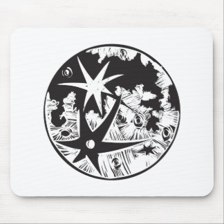 Woodcut Cratered Moon Mouse Pad
