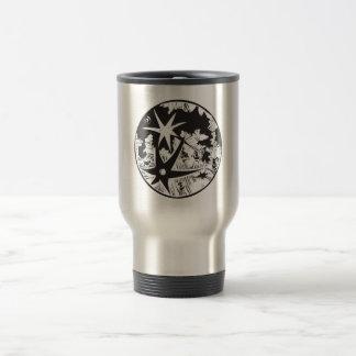 Woodcut Cratered Moon Travel Mug