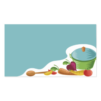 woodcut culinary mixing spoon veggies business car business cards