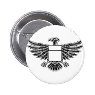 Woodcut Eagle Shield Pinback Button