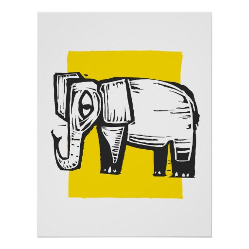 Woodcut Elephant Poster