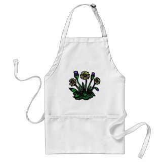 Woodcut Flowers Adult Apron