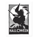 Woodcut Halloween Witch Postcards