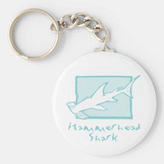 Woodcut Hammerhead Shark Keychain