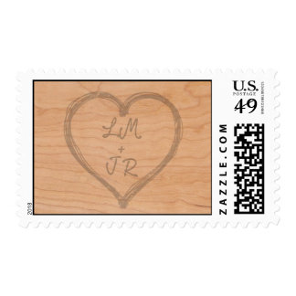 Woodcut Heart of initial Postage Stamps