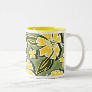 Woodcut Hibiscus Hawaiian Tropical Print Two-Tone Coffee Mug