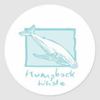 Woodcut Humback Whale Classic Round Sticker