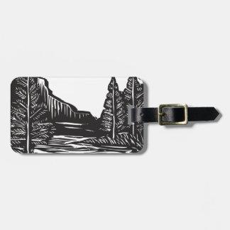 Woodcut Landscape Luggage Tag