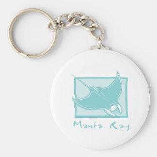 Woodcut Manta Ray Keychain