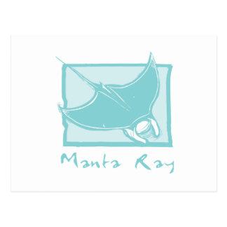 Woodcut Manta Ray Postcard
