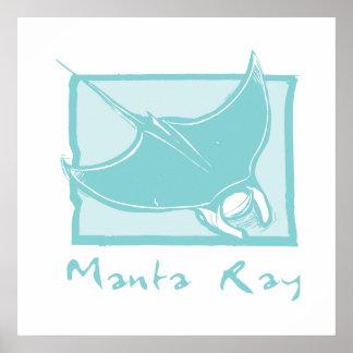 Woodcut Manta Ray Poster