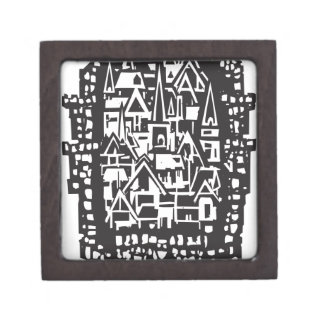 Woodcut Medieval City Jewelry Box