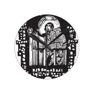 Woodcut Monk in Monastery Round Wallclocks