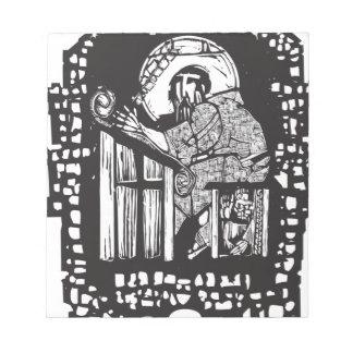 Woodcut Monk in Monastery Notepad