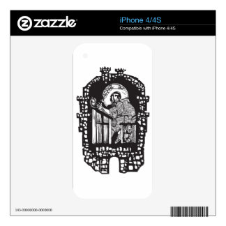 Woodcut Monk in Monastery Skins For iPhone 4S