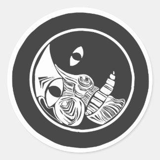 Woodcut Moon Round Sticker