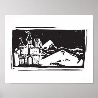 Woodcut Mountain Castle Poster