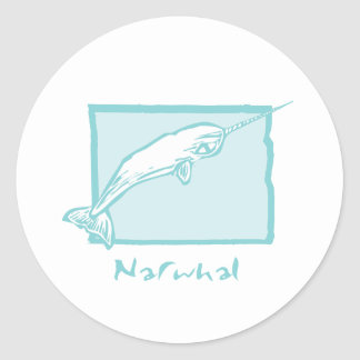 Woodcut Narwhal Classic Round Sticker
