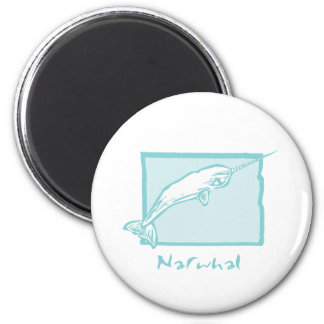 Woodcut Narwhal 2 Inch Round Magnet