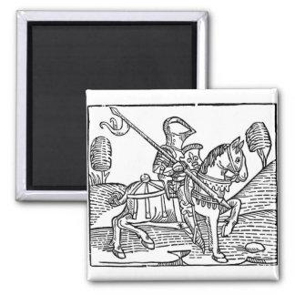 Woodcut of a Knight Fridge Magnet
