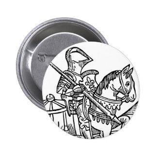 Woodcut of a Knight Pinback Button