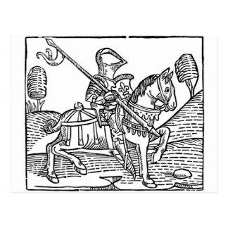 Woodcut of a Knight Postcard