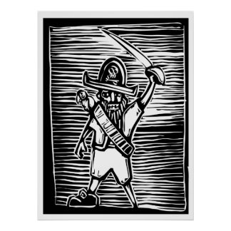 Woodcut Pirate Poster