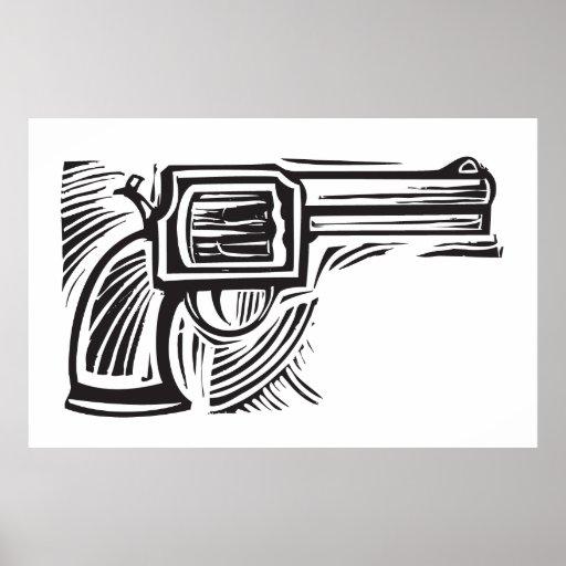 Woodcut Pistol Poster