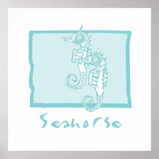 Woodcut seahorse poster