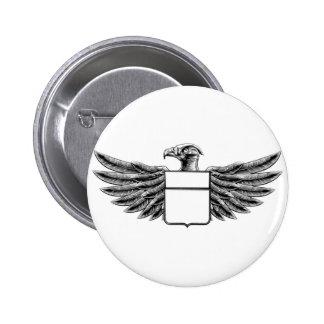 Woodcut Shield Eagle Pinback Button