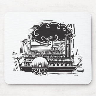 Woodcut Side wheel Steamboat Mouse Pad