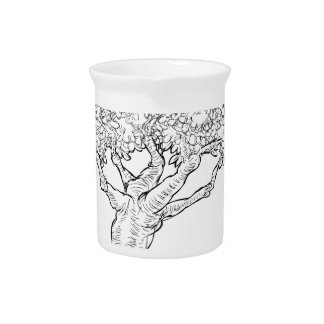 Woodcut sketch Style Tree Drink Pitcher