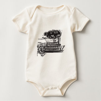 Woodcut Stern wheel Riverboat Baby Bodysuit