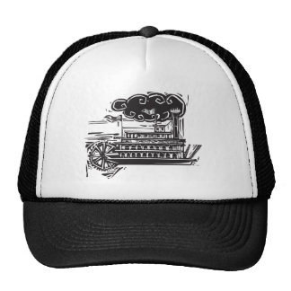 Woodcut Stern wheel Riverboat Trucker Hat