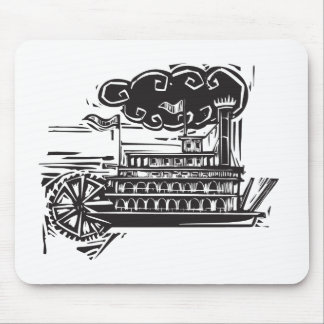 Woodcut Stern wheel Riverboat Mouse Pad