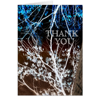 Woodcut Style Blue & Brown Wedding Thank You Cards