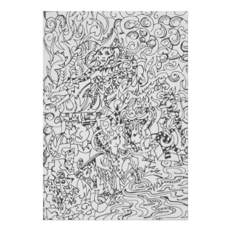 Woodcut Style Drawing Poster