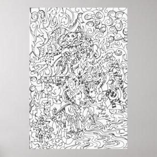 Woodcut Style Drawing Print