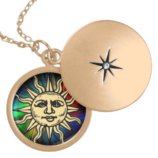 WOODCUT SUN GOLD PLATED NECKLACE