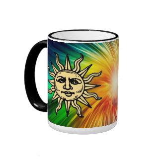 WOODCUT SUN RINGER COFFEE MUG