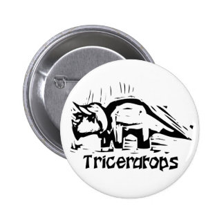 Woodcut Triceratops Button