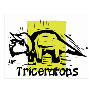Woodcut Triceratops Postcard