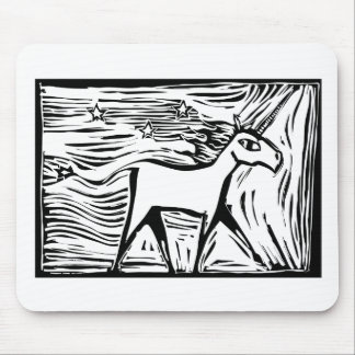 Woodcut Unicorn Mouse Pad