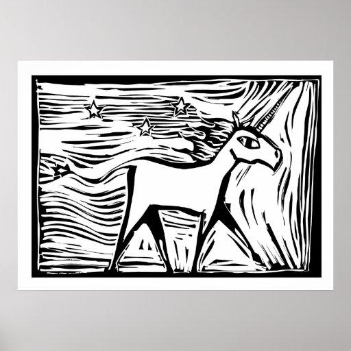 Woodcut Unicorn Poster