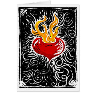 Woodcut Valentine - Flaming Heart Greeting Card